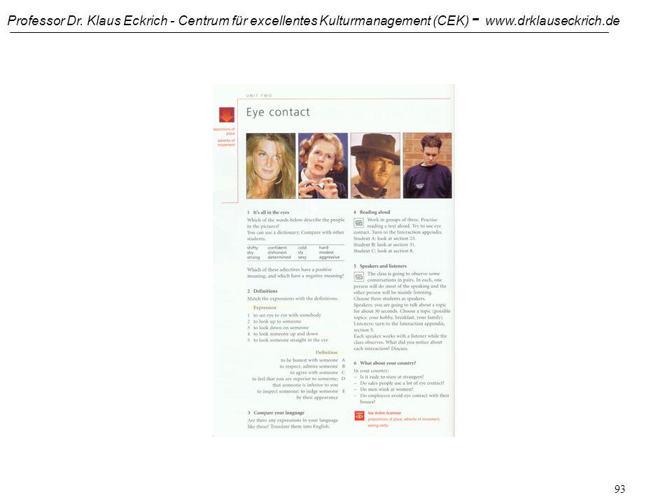 Professor Dr. Klaus Eckrich - Centrum für excellentes Kulturmanagement (CEK) - www.drklauseckrich.de 92