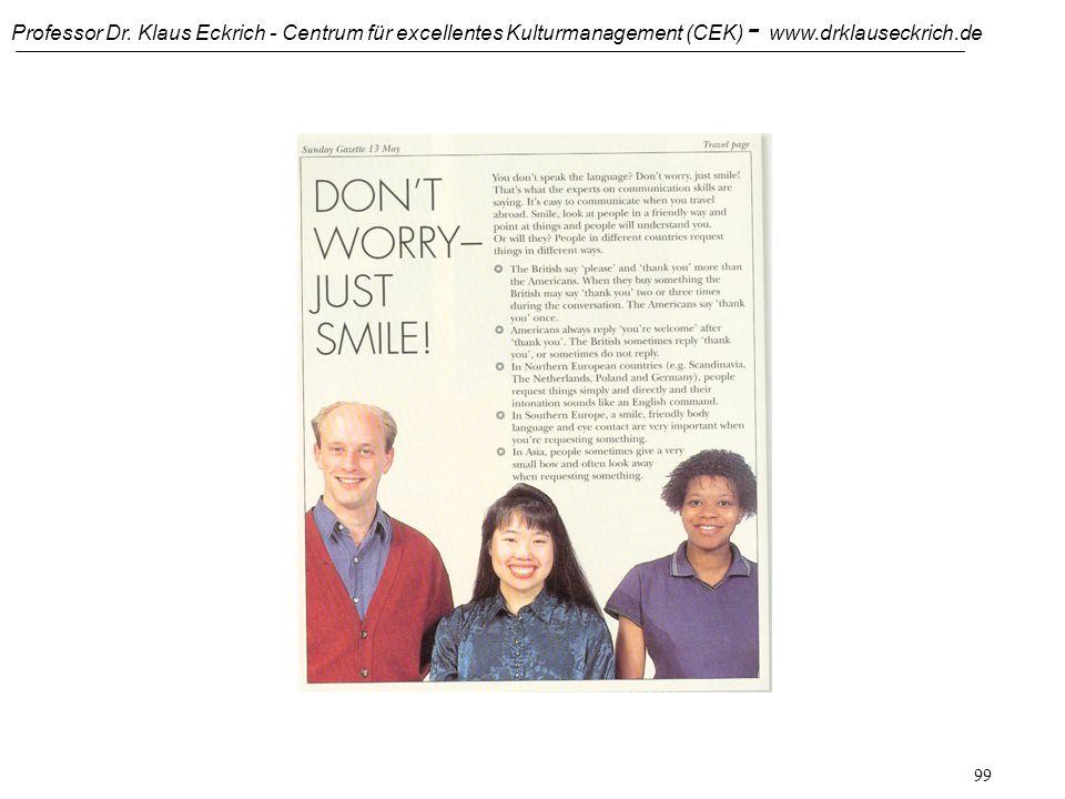 Professor Dr. Klaus Eckrich - Centrum für excellentes Kulturmanagement (CEK) - www.drklauseckrich.de 98