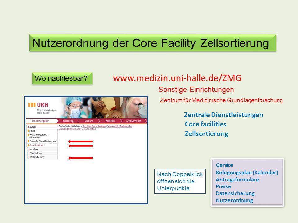 Nutzerordnung der Core Facility Zellsortierung Wo nachlesbar? www.medizin.uni-halle.de/ZMG Zentrale Dienstleistungen Zellsortierung Nach Doppelklick ö