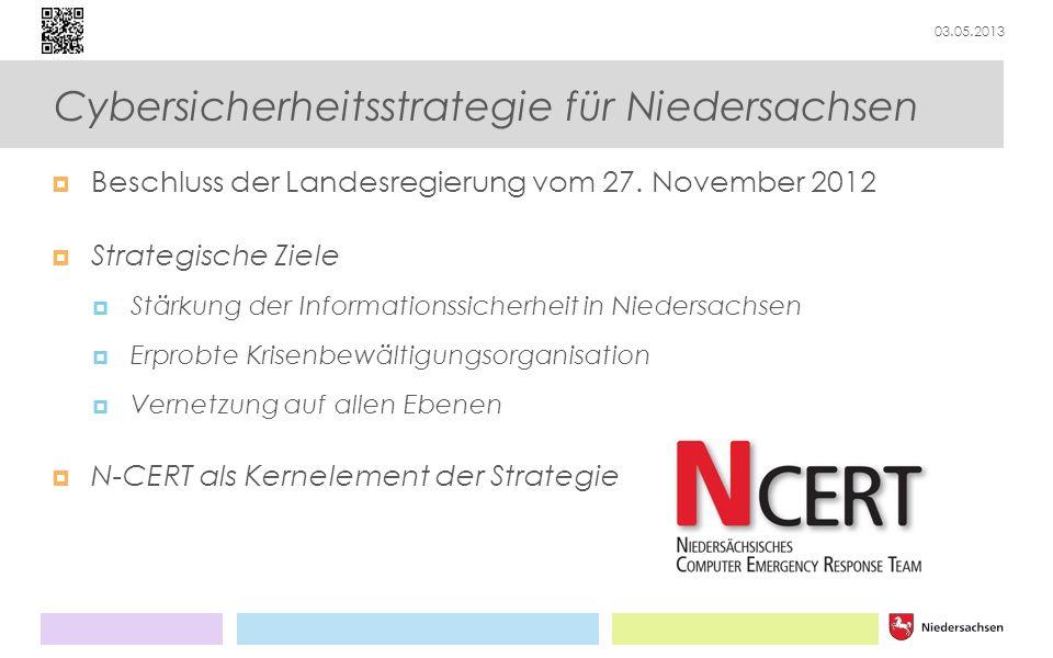 03.05.2013 Cybersicherheitsstrategie für Niedersachsen Beschluss der Landesregierung vom 27. November 2012 Strategische Ziele Stärkung der Information