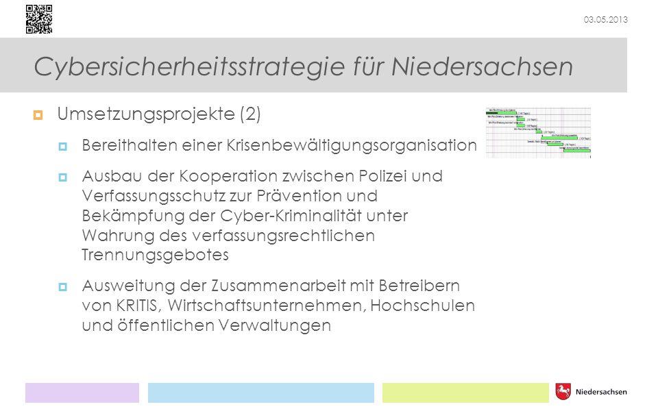 03.05.2013 Cybersicherheitsstrategie für Niedersachsen Umsetzungsprojekte (2) Bereithalten einer Krisenbewältigungsorganisation Ausbau der Kooperation