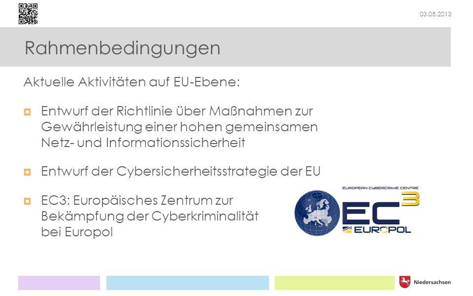 03.05.2013 Rahmenbedingungen Aktuelle Aktivitäten auf EU-Ebene: Entwurf der Richtlinie über Maßnahmen zur Gewährleistung einer hohen gemeinsamen Netz-