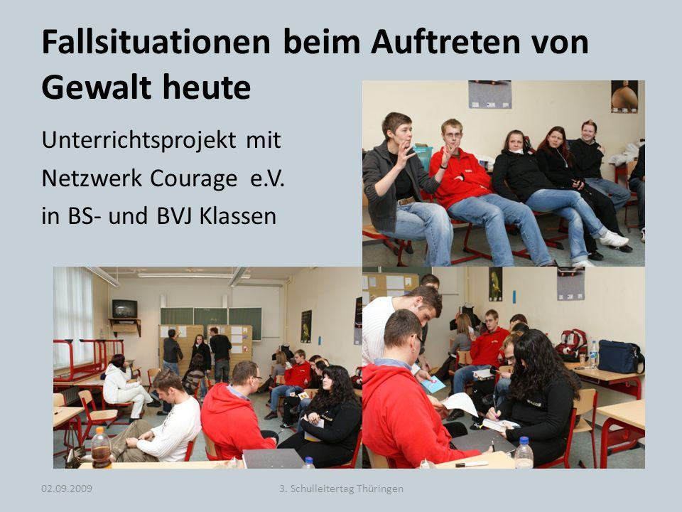 Fallsituationen beim Auftreten von Gewalt heute Unterrichtsprojekt mit Netzwerk Courage e.V. in BS- und BVJ Klassen 02.09.20093. Schulleitertag Thürin