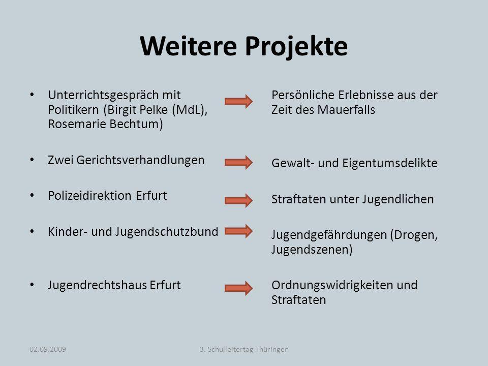 Weitere Projekte Unterrichtsgespräch mit Politikern (Birgit Pelke (MdL), Rosemarie Bechtum) Zwei Gerichtsverhandlungen Polizeidirektion Erfurt Kinder-