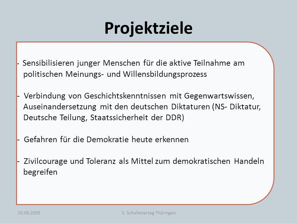 Projektziele 02.09.20093. Schulleitertag Thüringen - Sensibilisieren junger Menschen für die aktive Teilnahme am politischen Meinungs- und Willensbild