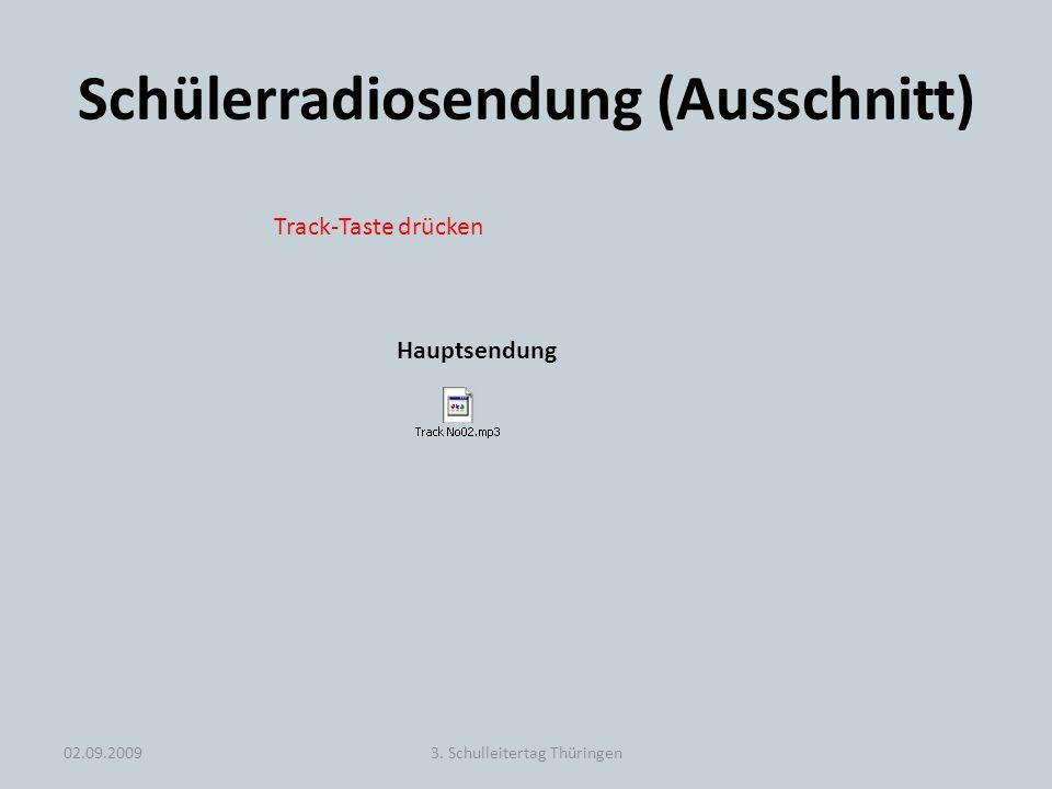 Schülerradiosendung (Ausschnitt) 02.09.20093. Schulleitertag Thüringen Hauptsendung Track-Taste drücken