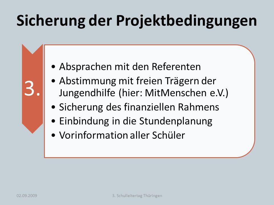 Sicherung der Projektbedingungen 3. Absprachen mit den Referenten Abstimmung mit freien Trägern der Jungendhilfe (hier: MitMenschen e.V.) Sicherung de