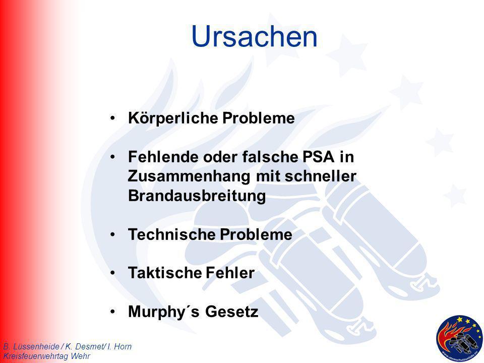 B. Lüssenheide / K. Desmet/ I. Horn Kreisfeuerwehrtag Wehr Ursachen Körperliche Probleme Fehlende oder falsche PSA in Zusammenhang mit schneller Brand