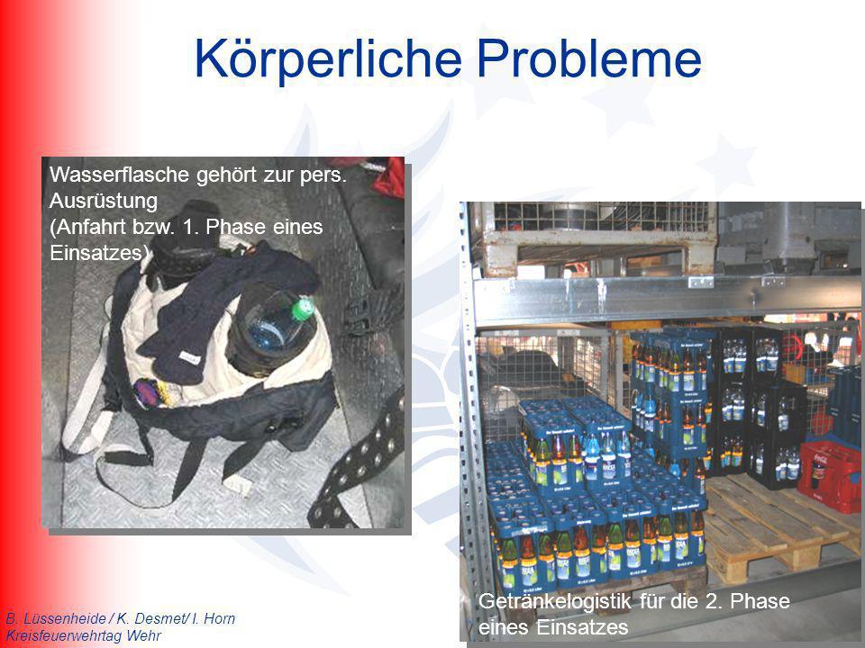 B. Lüssenheide / K. Desmet/ I. Horn Kreisfeuerwehrtag Wehr Körperliche Probleme Getränkelogistik für die 2. Phase eines Einsatzes Wasserflasche gehört