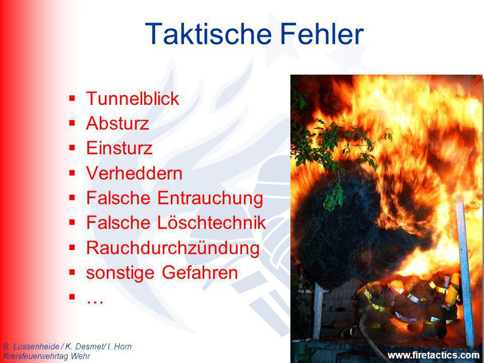 B. Lüssenheide / K. Desmet/ I. Horn Kreisfeuerwehrtag Wehr Taktische Fehler Tunnelblick Absturz Einsturz Verheddern Falsche Entrauchung Falsche Löscht