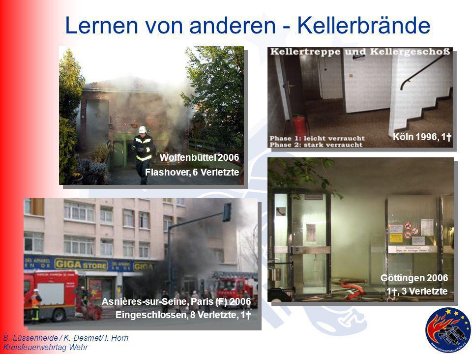 B. Lüssenheide / K. Desmet/ I. Horn Kreisfeuerwehrtag Wehr Lernen von anderen - Kellerbrände Wolfenbüttel 2006 Flashover, 6 Verletzte Asnières-sur-Sei