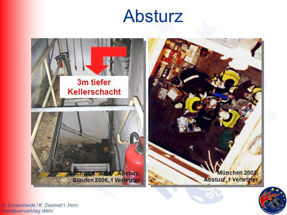 B. Lüssenheide / K. Desmet/ I. Horn Kreisfeuerwehrtag Wehr Absturz 3m tiefer Kellerschacht München 2003, Absturz, 1 Verletzter Stichwort BMA, Absturz,