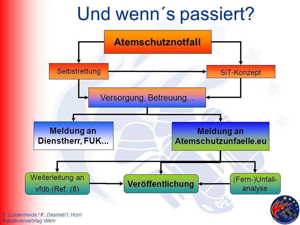 B. Lüssenheide / K. Desmet/ I. Horn Kreisfeuerwehrtag Wehr Und wenn´s passiert? Selbstrettung SiT-Konzept Meldung an Atemschutzunfaelle.eu Atemschutzn