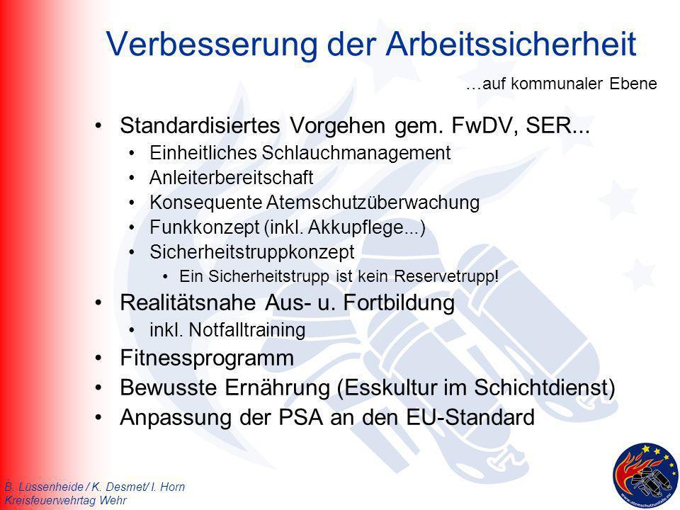 B. Lüssenheide / K. Desmet/ I. Horn Kreisfeuerwehrtag Wehr Verbesserung der Arbeitssicherheit Standardisiertes Vorgehen gem. FwDV, SER... Einheitliche