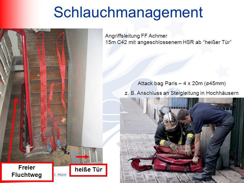 B. Lüssenheide / K. Desmet/ I. Horn Kreisfeuerwehrtag Wehr Schlauchmanagement Attack bag Paris – 4 x 20m (ø45mm) z. B. Anschluss an Steigleitung in Ho