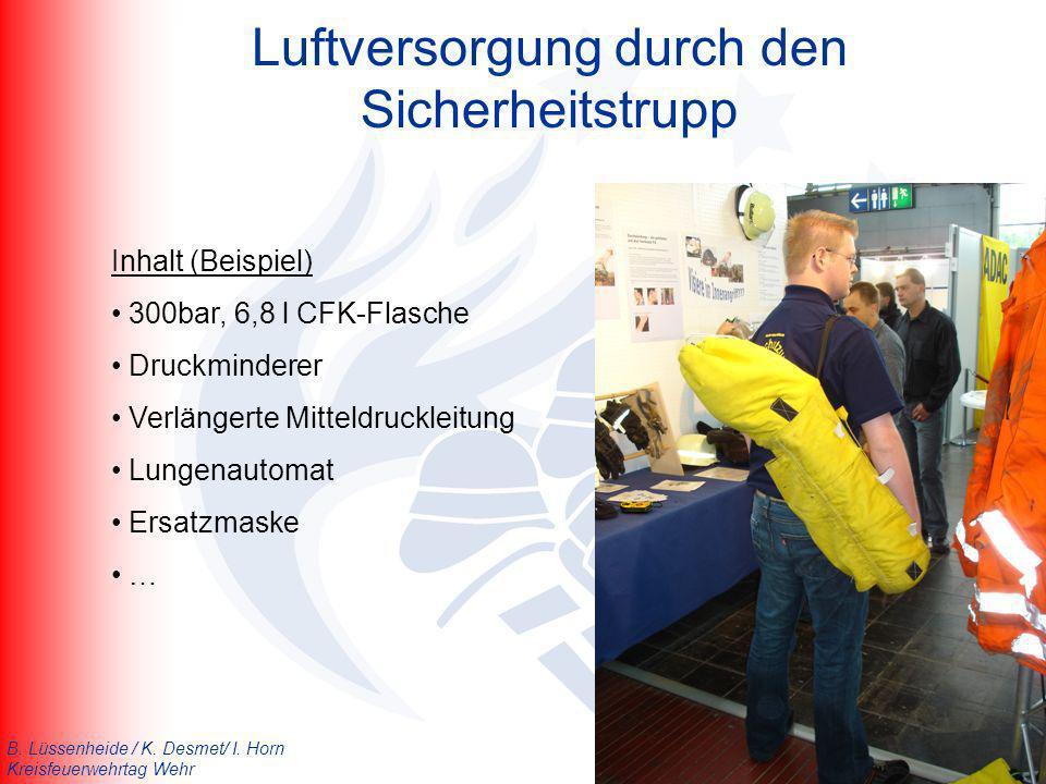 B. Lüssenheide / K. Desmet/ I. Horn Kreisfeuerwehrtag Wehr Luftversorgung durch den Sicherheitstrupp Inhalt (Beispiel) 300bar, 6,8 l CFK-Flasche Druck