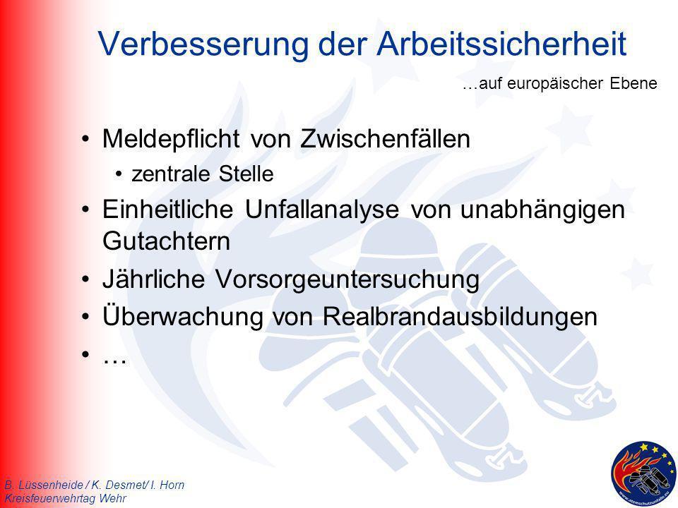 B. Lüssenheide / K. Desmet/ I. Horn Kreisfeuerwehrtag Wehr Meldepflicht von Zwischenfällen zentrale Stelle Einheitliche Unfallanalyse von unabhängigen