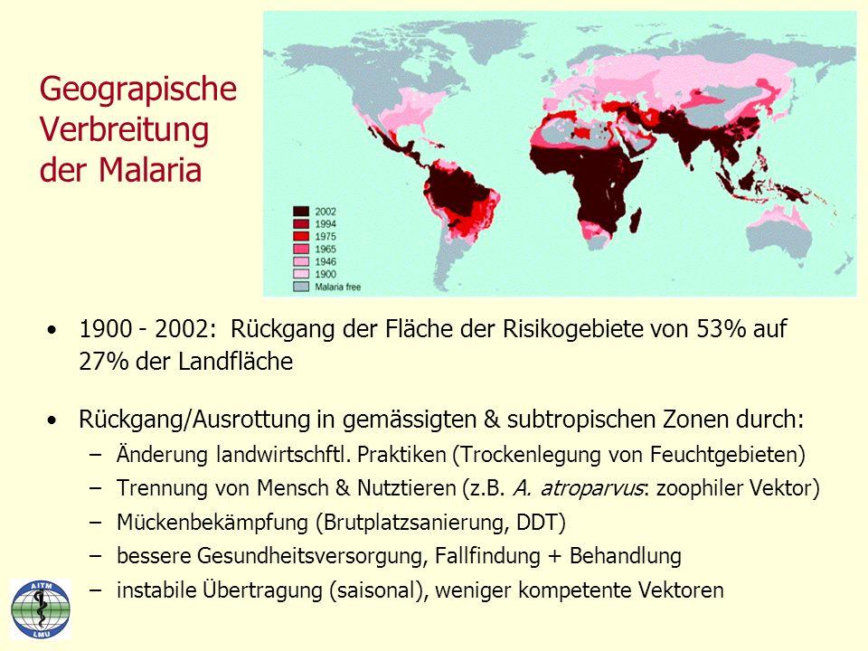 Geograpische Verbreitung der Malaria 1900 - 2002: Rückgang der Fläche der Risikogebiete von 53% auf 27% der Landfläche Rückgang/Ausrottung in gemässig