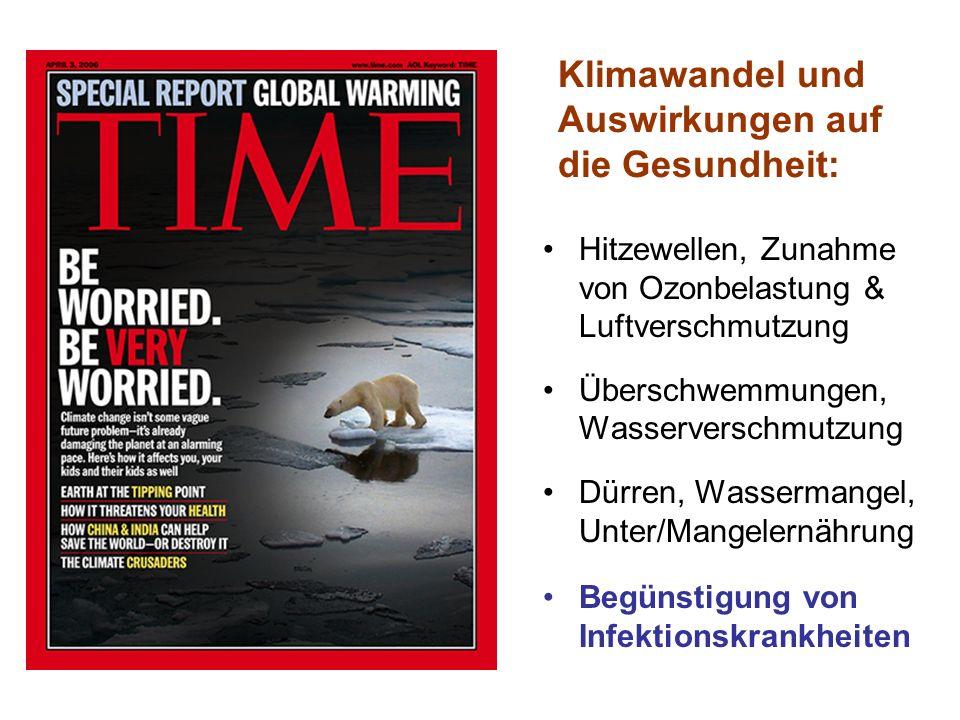 Klimawandel und Auswirkungen auf die Gesundheit: Hitzewellen, Zunahme von Ozonbelastung & Luftverschmutzung Überschwemmungen, Wasserverschmutzung Dürr