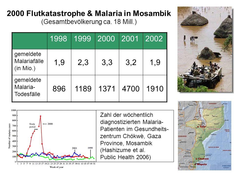 2000 Flutkatastrophe & Malaria in Mosambik (Gesamtbevölkerung ca. 18 Mill.) 19981999200020012002 gemeldete Malariafälle (in Mio.) 1,92,33,33,21,9 geme