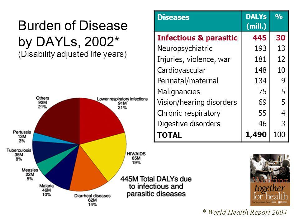 Die wichtigsten Todesursachen 2002* * World Health Report 2004 Weltbevölkerung 2002 Todesfälle 2002 (0,92%) 6 224 Mio.