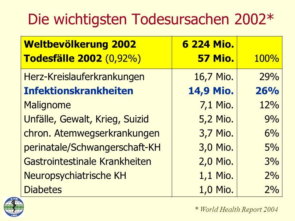 Die wichtigsten Todesursachen 2002* * World Health Report 2004 Weltbevölkerung 2002 Todesfälle 2002 (0,92%) 6 224 Mio. 57 Mio.100% Herz-Kreislauferkra