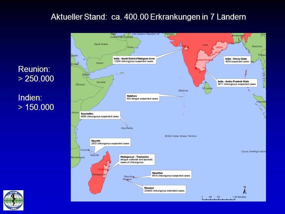 Aktueller Stand: ca. 400.00 Erkrankungen in 7 Ländern Reunion: > 250.000 Indien: > 150.000