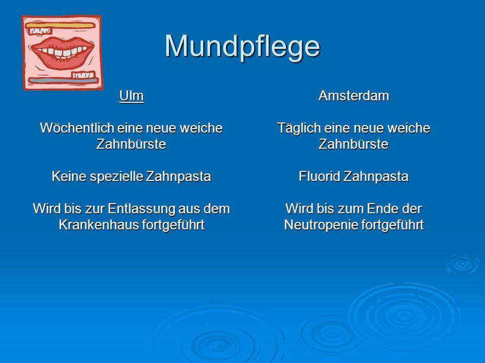 Mundpflege Ulm Wöchentlich eine neue weiche Zahnbürste Keine spezielle Zahnpasta Wird bis zur Entlassung aus dem Krankenhaus fortgeführt Amsterdam Täg