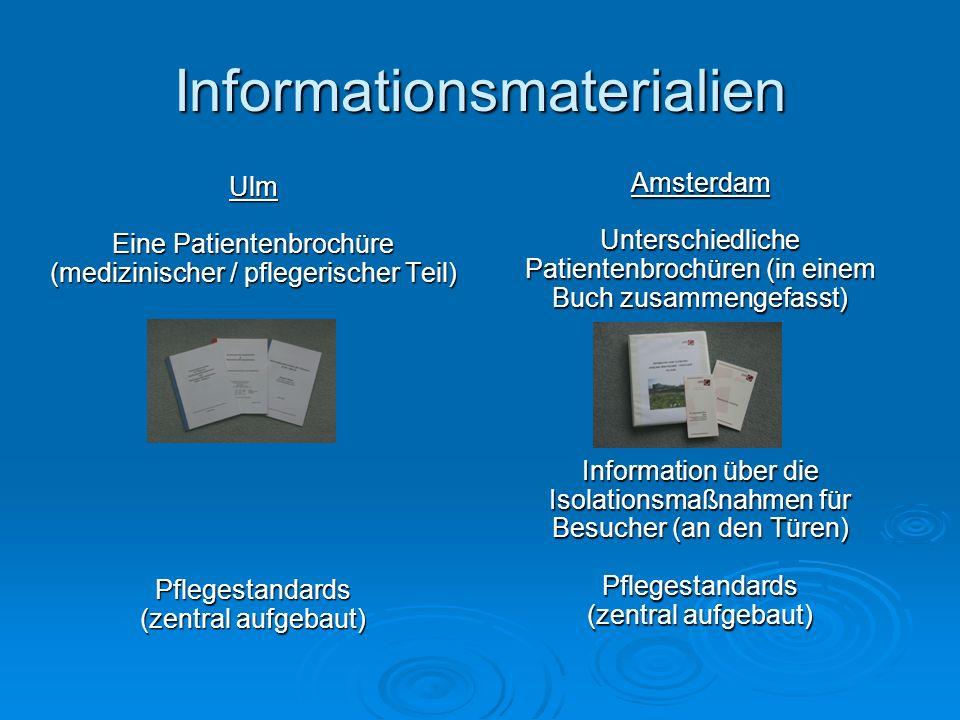 Informationsmaterialien Ulm Eine Patientenbrochüre (medizinischer / pflegerischer Teil) Pflegestandards (zentral aufgebaut) Amsterdam Unterschiedliche