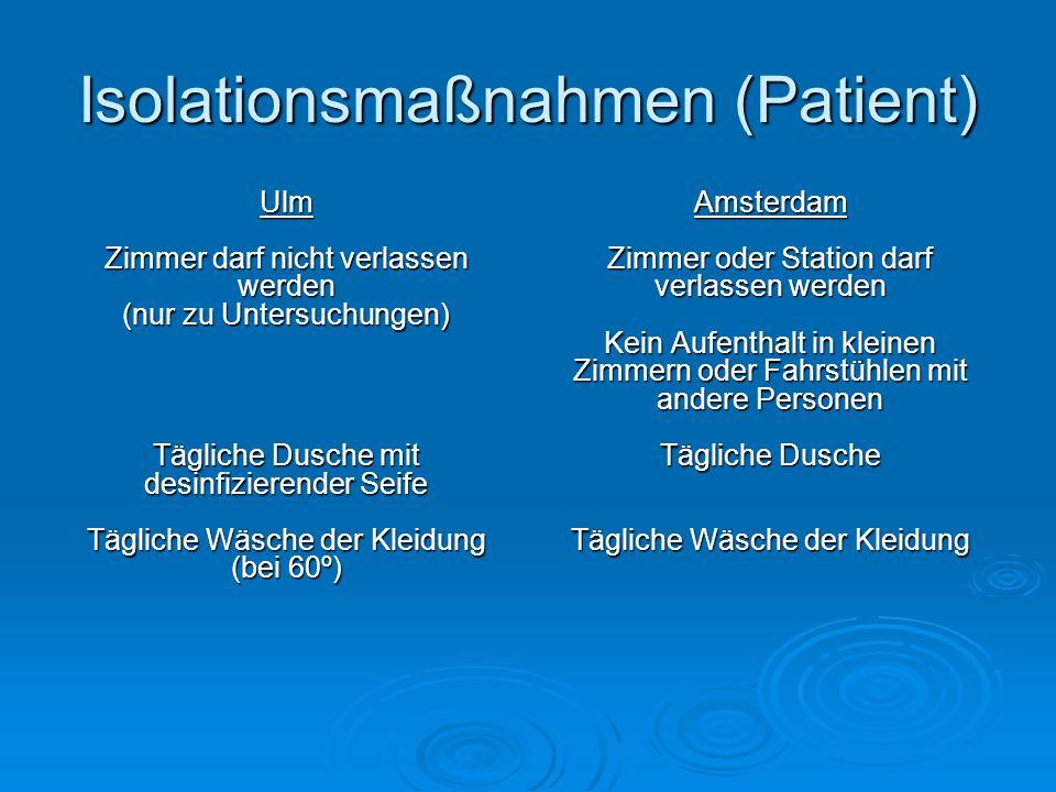Isolationsmaßnahmen (Patient) Ulm Zimmer darf nicht verlassen werden (nur zu Untersuchungen) Tägliche Dusche mit desinfizierender Seife Tägliche Wäsch