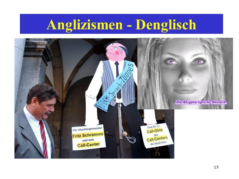 14 sprachpflegerische Kritik sprachliche Trends wahrnehmen: Anglizismen - Modewörter... political correctness Internationalismen - Fremdwörter - Lehnw