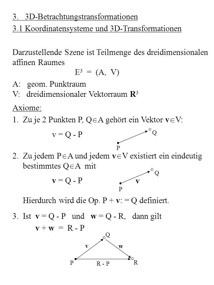 R Da V = R 3 mit dem kanonischen Skalarprodukt = v 1 w 1 + v 2 w 2 + v 3 w 3 ausgestattet ist, lassen sich in E 3 Abstände zwischen Punkten erklären durch d (P, Q) = |Q - P| = E 3 heißt euklidischer Raum.