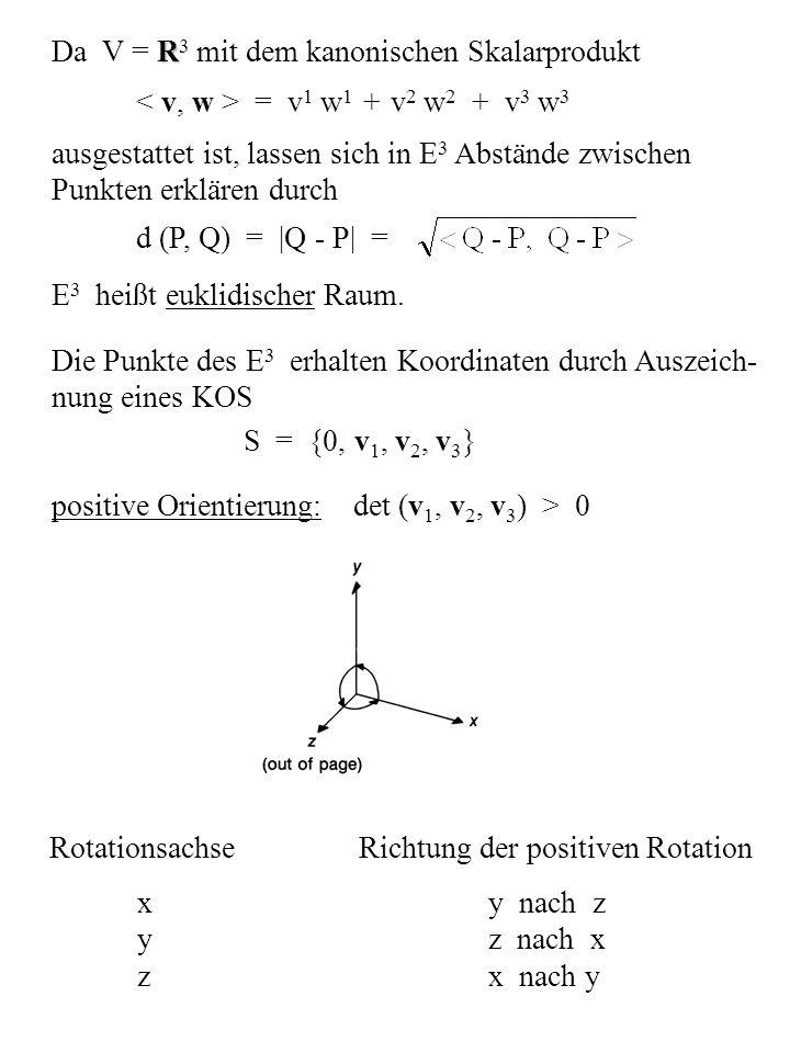R Da V = R 3 mit dem kanonischen Skalarprodukt = v 1 w 1 + v 2 w 2 + v 3 w 3 ausgestattet ist, lassen sich in E 3 Abstände zwischen Punkten erklären d