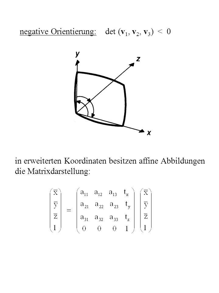 Spezialfälle: 1) Translation T (dx, dy, dz) 2) Skalierung S (Sx, Sy, Sz) 3) Rotationen um x-, y-, z-Achse: R x ( ), R y ( ), R z ( )