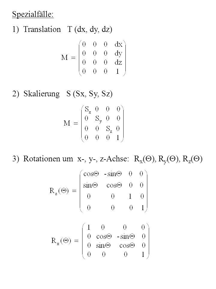 Rotation um beliebige Achse durch Komposition von R x, R y, R z Berechnung der Inversen: T -1 (dx, dy, dz) = T (-dx, -dy, -dz) S -1 (Sx, Sy, Sz) = S ( ) R ( ) = R z (- ) Isometrien erhalten Maßbeziehungen (Abstände, Winkel) F = M · v + c ist Isometrie, wenn = Dies ist genau dann der Fall, wenn M M T = I oder M -1 = M T
