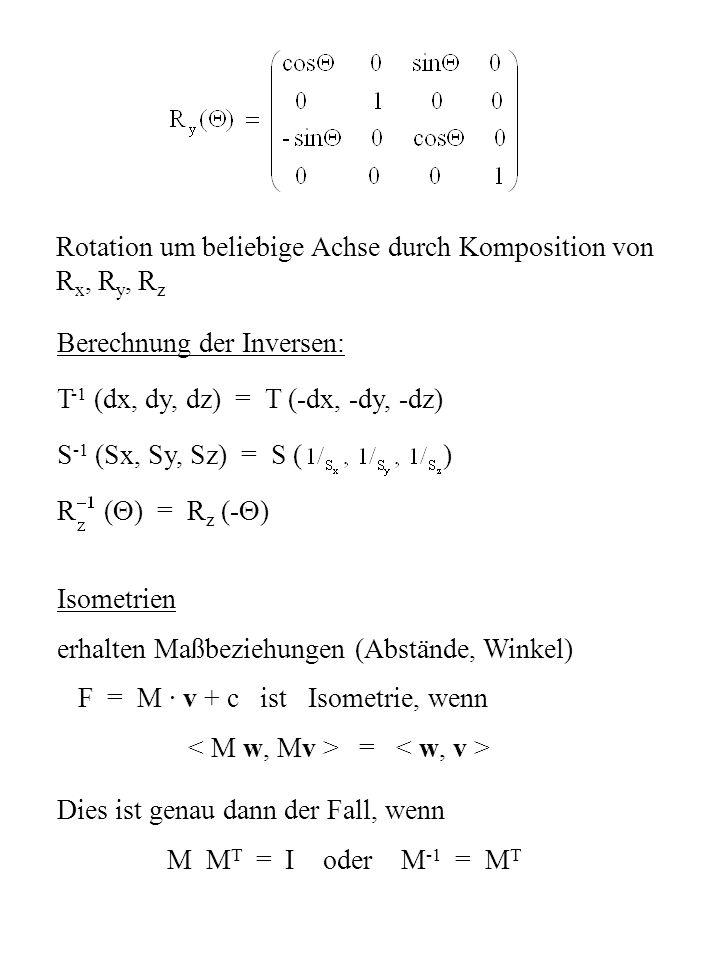 Rotation um beliebige Achse durch Komposition von R x, R y, R z Berechnung der Inversen: T -1 (dx, dy, dz) = T (-dx, -dy, -dz) S -1 (Sx, Sy, Sz) = S (