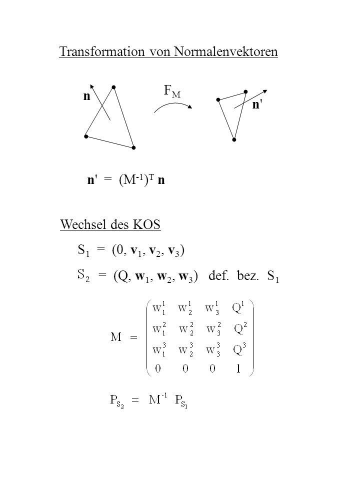 Transformation von Normalenvektoren n' = (M -1 ) T n FMFM n n'n' Wechsel des KOS S 1 = (0, v 1, v 2, v 3 ) = (Q, w 1, w 2, w 3 ) def. bez. S 1