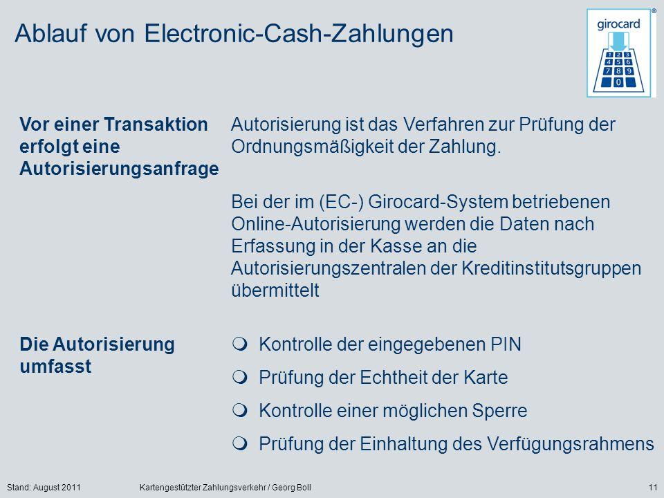 Stand: August 2011Kartengestützter Zahlungsverkehr / Georg Boll11 Ablauf von Electronic-Cash-Zahlungen Vor einer Transaktion erfolgt eine Autorisierungsanfrage Autorisierung ist das Verfahren zur Prüfung der Ordnungsmäßigkeit der Zahlung.