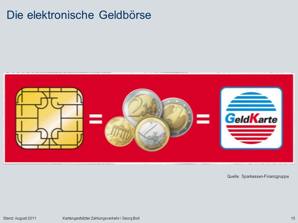 Stand: August 2011Kartengestützter Zahlungsverkehr / Georg Boll15 Die elektronische Geldbörse Quelle: Sparkassen-Finanzgruppe