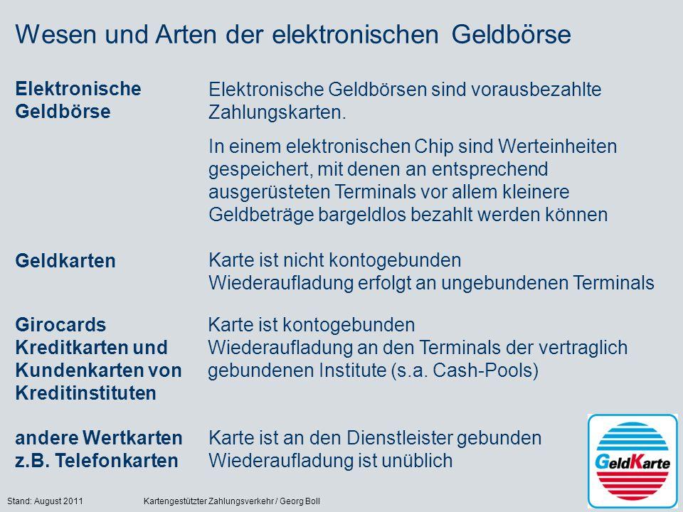 Stand: August 2011Kartengestützter Zahlungsverkehr / Georg Boll16 Wesen und Arten der elektronischen Geldbörse Elektronische Geldbörse Elektronische Geldbörsen sind vorausbezahlte Zahlungskarten.