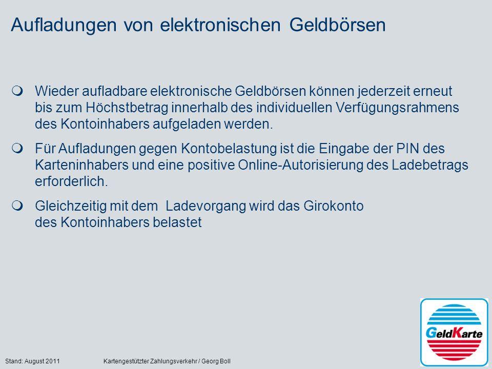 Stand: August 2011Kartengestützter Zahlungsverkehr / Georg Boll19 Aufladungen von elektronischen Geldbörsen Wieder aufladbare elektronische Geldbörsen
