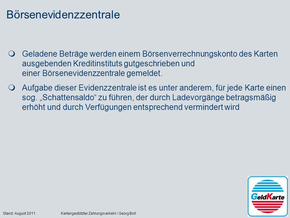Stand: August 2011Kartengestützter Zahlungsverkehr / Georg Boll20 Börsenevidenzzentrale Geladene Beträge werden einem Börsenverrechnungskonto des Karten ausgebenden Kreditinstituts gutgeschrieben und einer Börsenevidenzzentrale gemeldet.