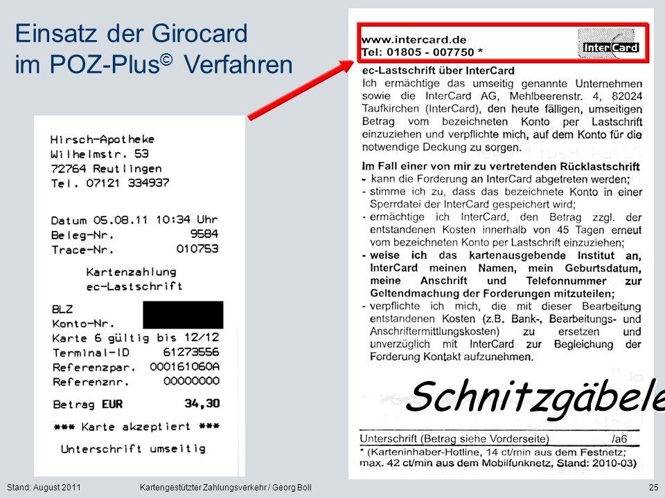 Stand: August 2011Kartengestützter Zahlungsverkehr / Georg Boll25 Einsatz der Girocard im POZ-Plus © Verfahren Schnitzgäbele