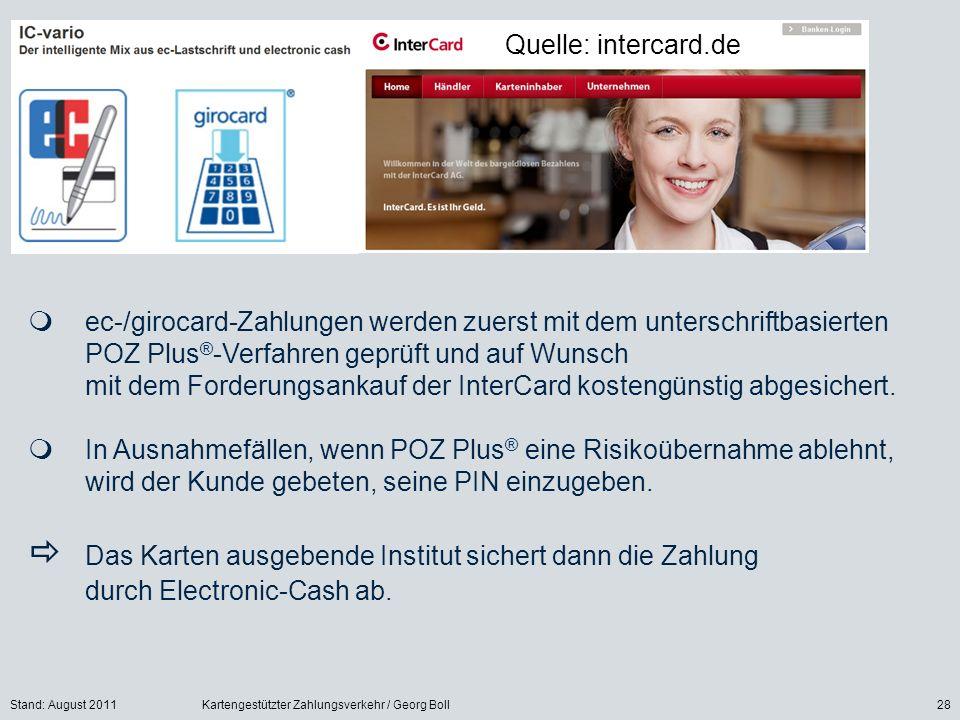 Stand: August 2011Kartengestützter Zahlungsverkehr / Georg Boll28 ec-/girocard-Zahlungen werden zuerst mit dem unterschriftbasierten POZ Plus ® -Verfa