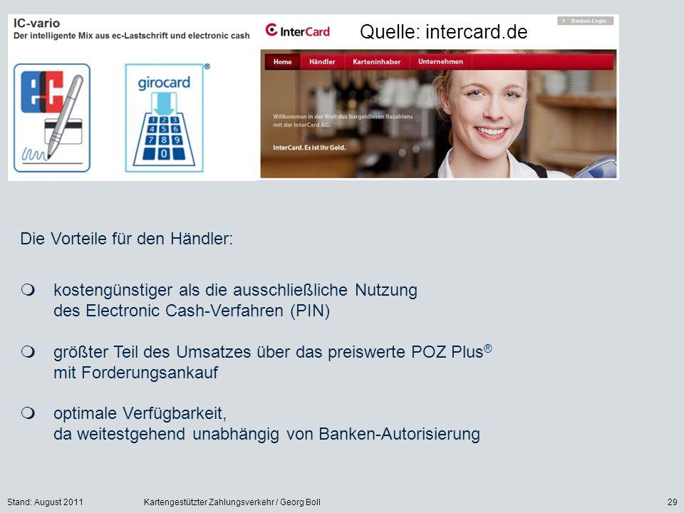 Stand: August 2011Kartengestützter Zahlungsverkehr / Georg Boll29 Die Vorteile für den Händler: kostengünstiger als die ausschließliche Nutzung des El