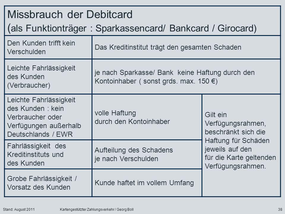 Stand: August 2011Kartengestützter Zahlungsverkehr / Georg Boll38 Missbrauch der Debitcard ( als Funktionträger : Sparkassencard/ Bankcard / Girocard)