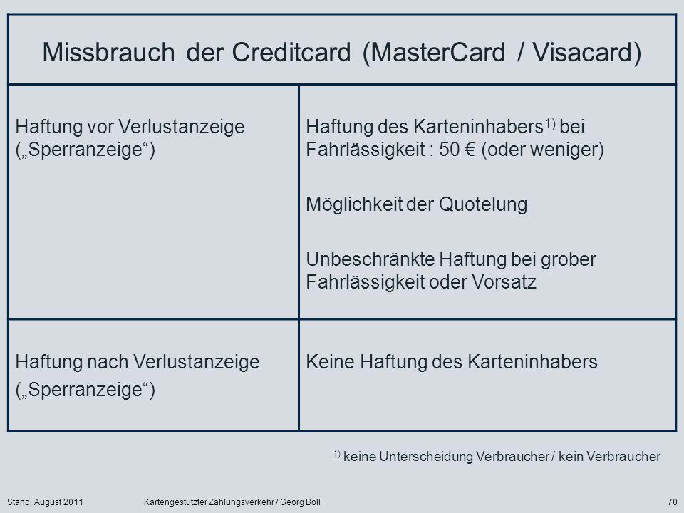Stand: August 2011Kartengestützter Zahlungsverkehr / Georg Boll70 Missbrauch der Creditcard (MasterCard / Visacard) Haftung vor Verlustanzeige (Sperranzeige) Haftung des Karteninhabers 1) bei Fahrlässigkeit : 50 (oder weniger) Möglichkeit der Quotelung Unbeschränkte Haftung bei grober Fahrlässigkeit oder Vorsatz Haftung nach Verlustanzeige (Sperranzeige) Keine Haftung des Karteninhabers 1) keine Unterscheidung Verbraucher / kein Verbraucher
