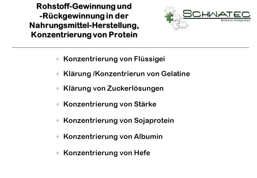 Konzentrierung von Flüssigei Klärung /Konzentrierun von Gelatine Klärung von Zuckerlösungen Konzentrierung von Stärke Konzentrierung von Sojaprotein K