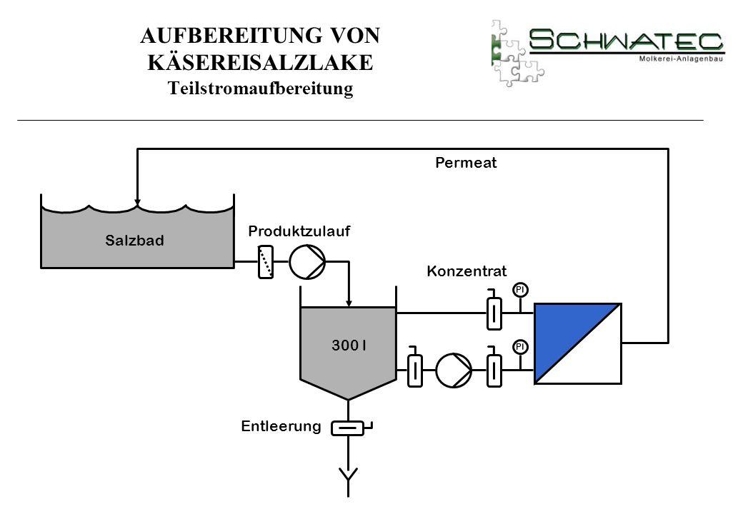 PI Permeat Produktzulauf Entleerung 300 l Konzentrat Salzbad AUFBEREITUNG VON KÄSEREISALZLAKE Teilstromaufbereitung