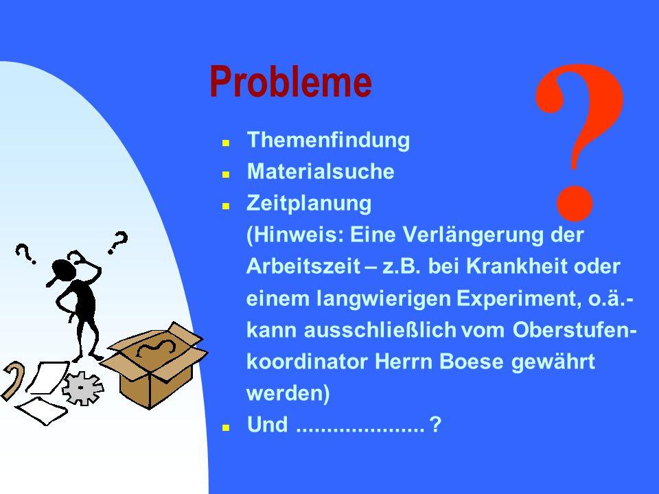 Probleme n Themenfindung n Materialsuche n Zeitplanung (Hinweis: Eine Verlängerung der Arbeitszeit – z.B. bei Krankheit oder einem langwierigen Experi